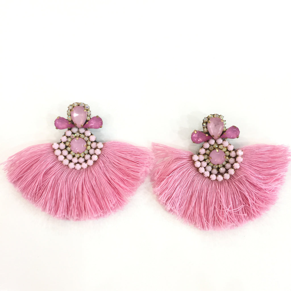 Fashion Pink Tassel Designer Fringe Pink Crystal Earrings