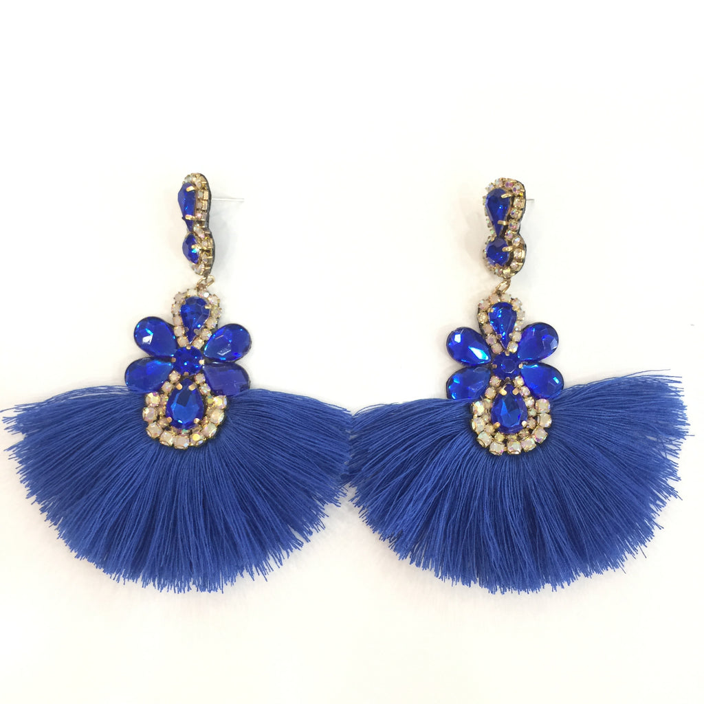 Fashion Blue Tassel Designer Fringe Blue Crystal Earrings