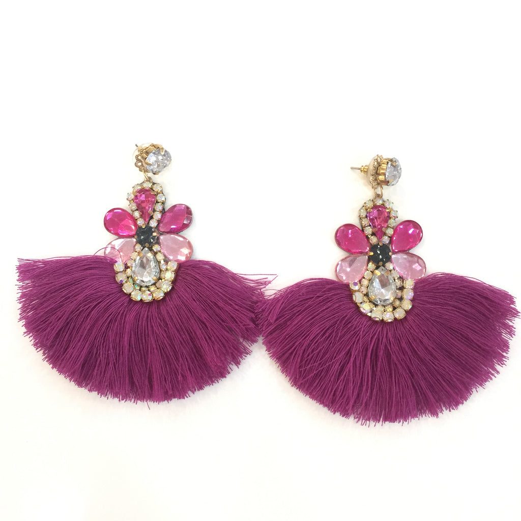 Fashion Purple Tassel Designer Long Fringe Pink Crystal Earrings