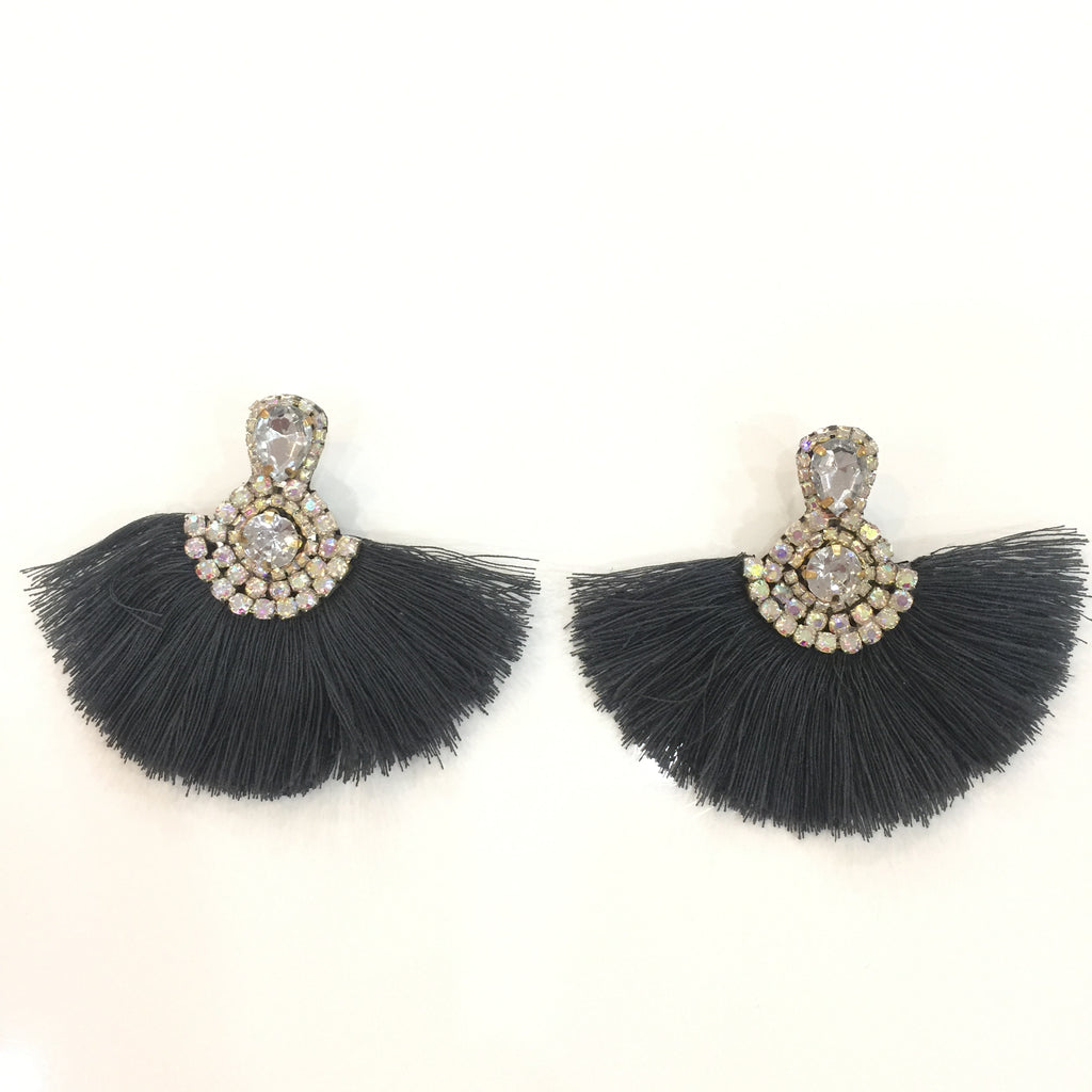 Fashion Grey Tassel Designer Fringe Silver Crystal Earrings