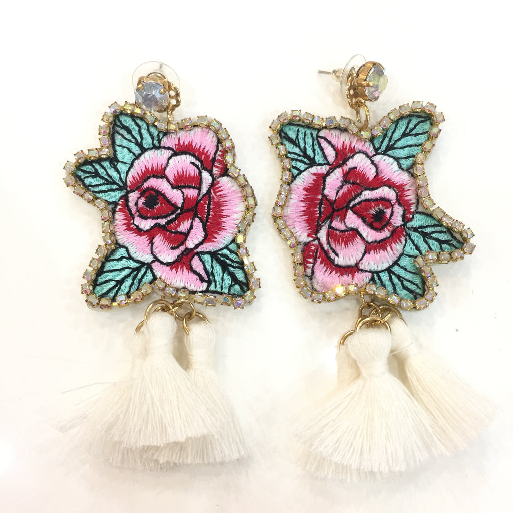 Fashion White Tassel Designer Long Fringe Rose Embroidery Earrings