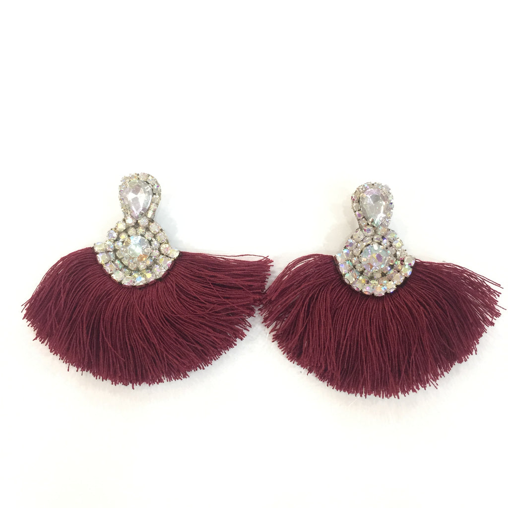 Fashion Purple Tassel Designer Fringe Silver Crystal Earrings