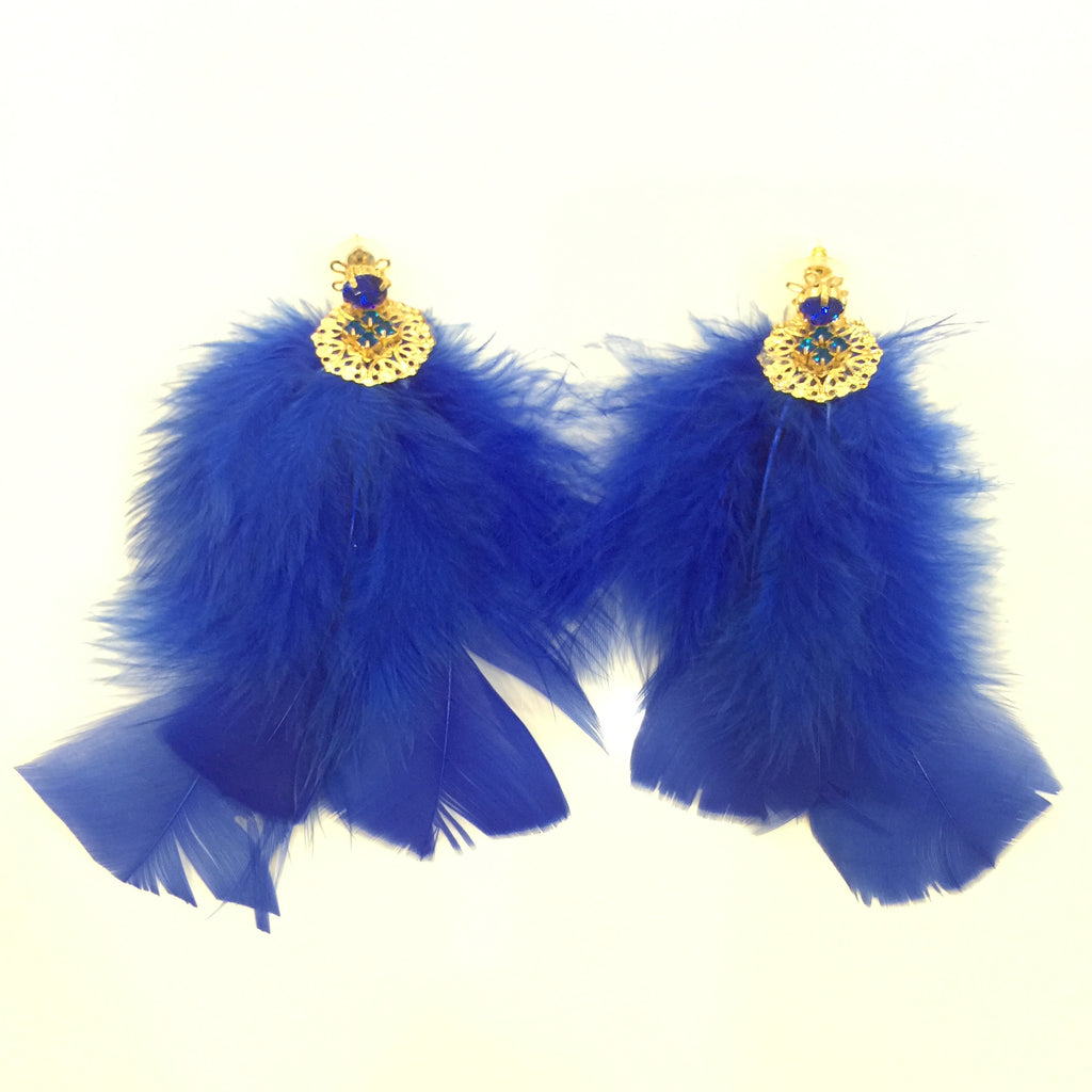 Fashion Feather Gold Crystal Long Earrings