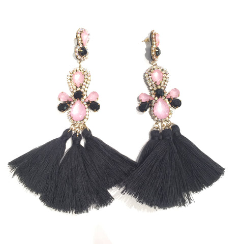 Fashion Black Tassel Designer Long Fringe Black and Pink Crystal Earrings