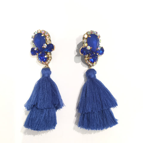 Fashion Blue Tassel Designer Long Fringe Blue Crystal Earrings