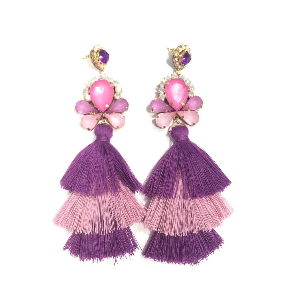 Fashion Pink and Purple Tassel Designer Long Fringe Pink Crystal Earrings