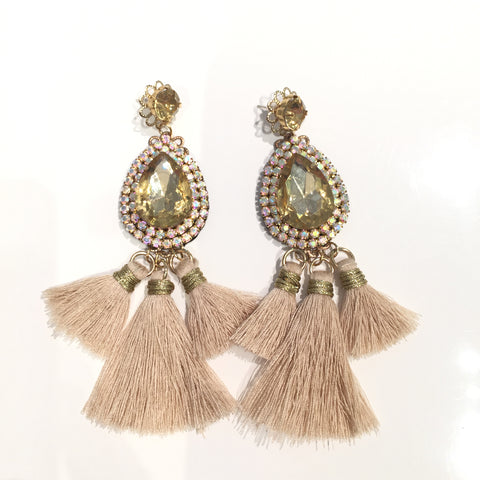 Fashion Beige Tassel Designer Long Fringe Gold Crystal Earrings