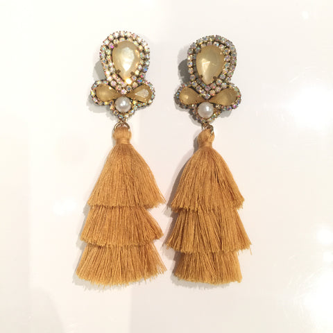 Fashion Camel Tassel Designer Long Fringe Camel Crystal Earrings
