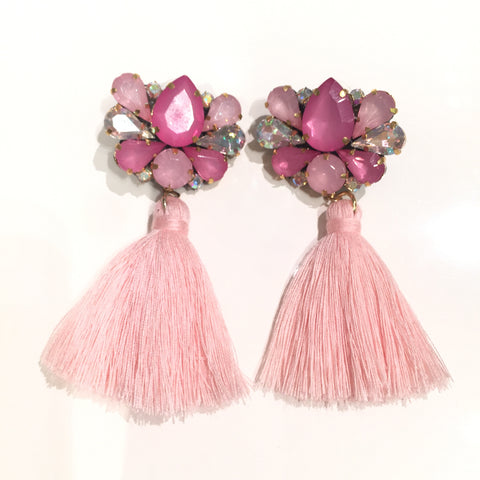 Fashion Pink Tassel Designer Long Fringe Pink Crystal Earrings