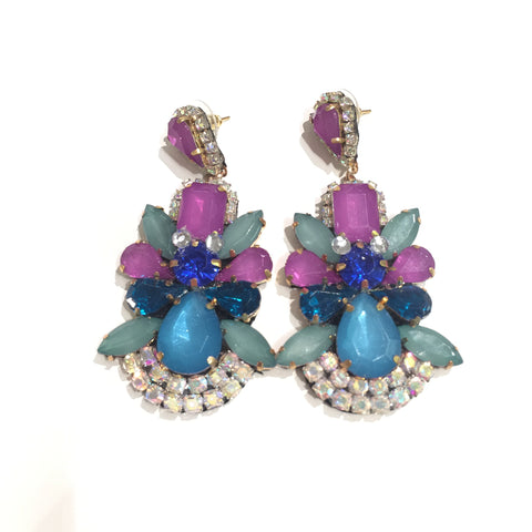Fashion Designer Aqua and Purple Crystal Earrings