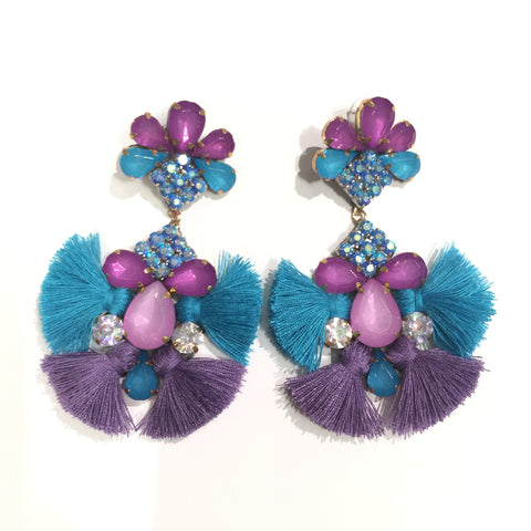 Fashion Aqua and Purple  Tassel Designer Long Fringe Aqua and Purple Crystal Earrings