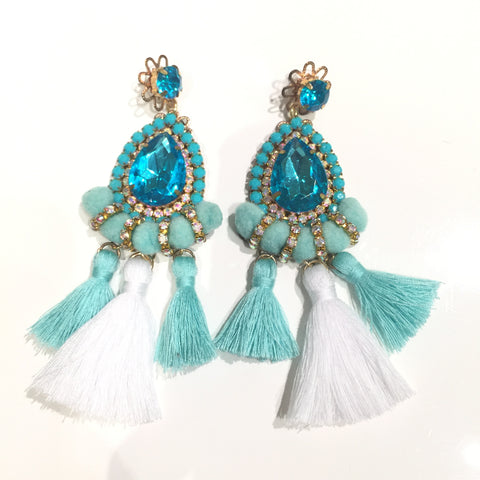 Fashion Aqua and White Tassel Designer Long Fringe Aqua Crystal Earrings