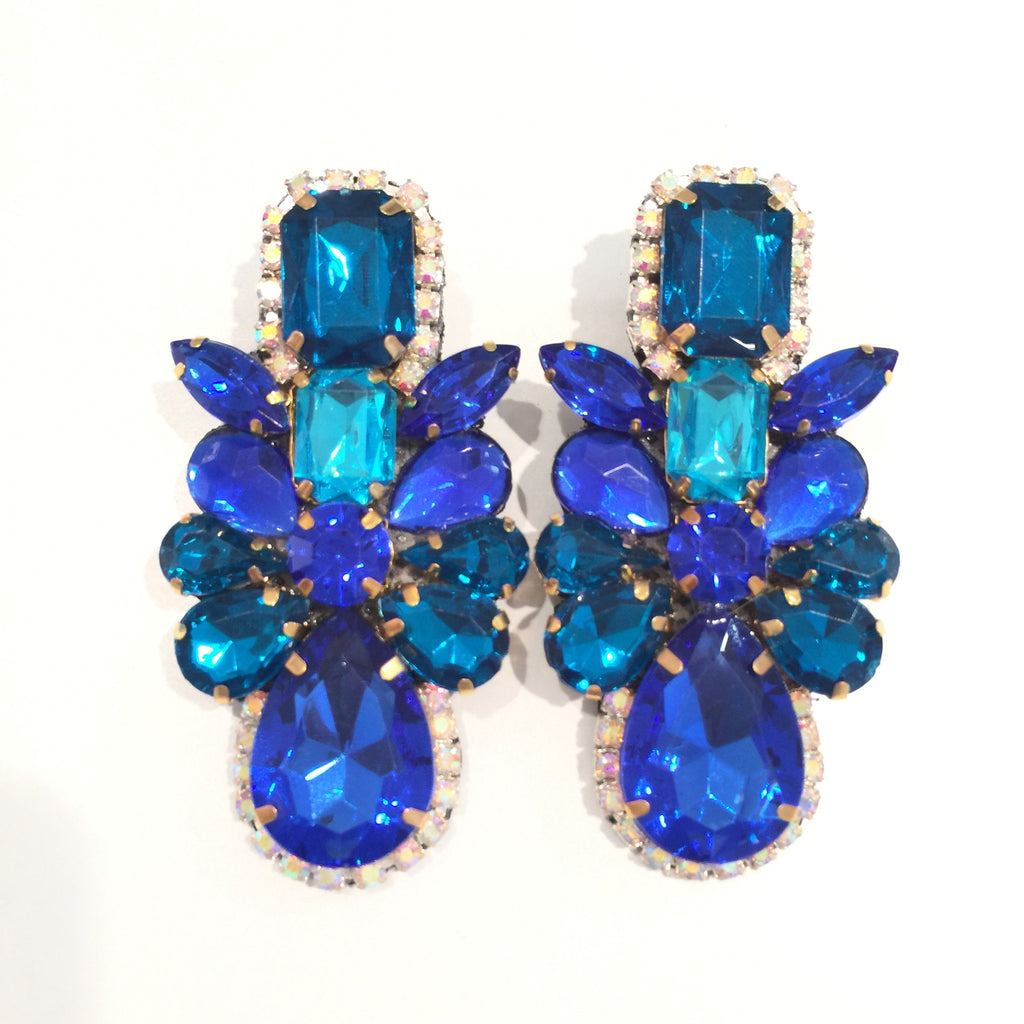 Fashion Designer Royal Blue Crystal Drop Earrings