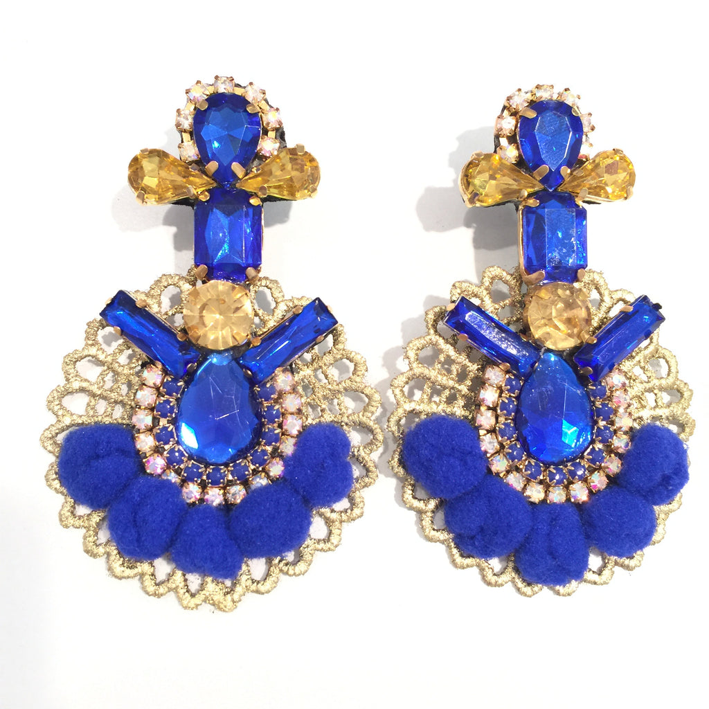 Fashion Designer Royal Blue Pom Pom Gold Earrings