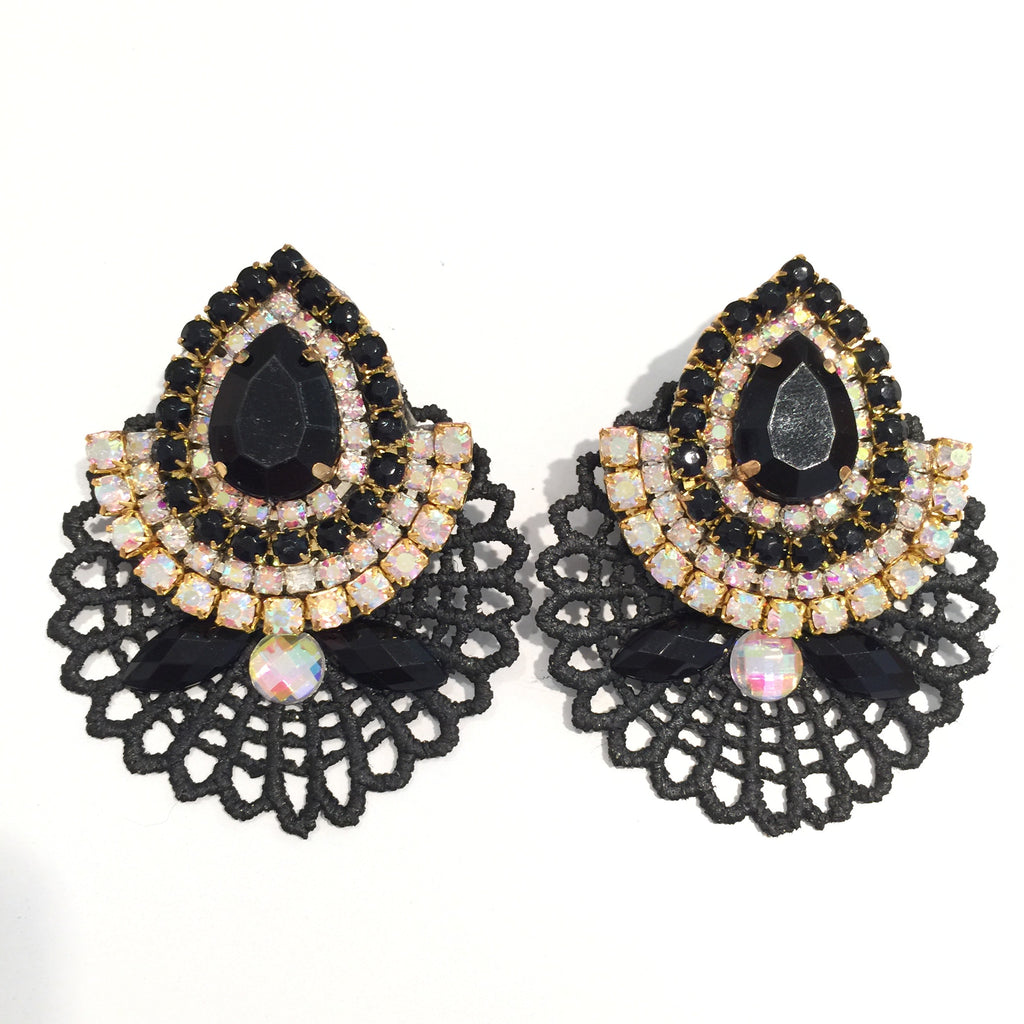 Fashion Designer Crystal Lace Black Earrings