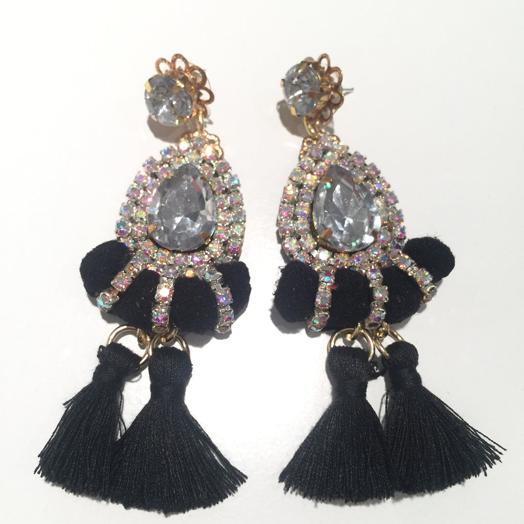 Fashion Designer Black Mini Tassel Silver Earrings