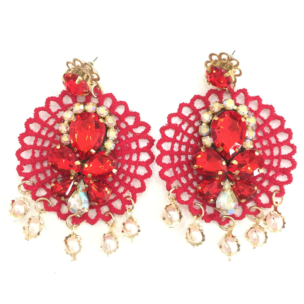Fashion White Pearl Designer Red and Clear Crystal Red Lace Earrings