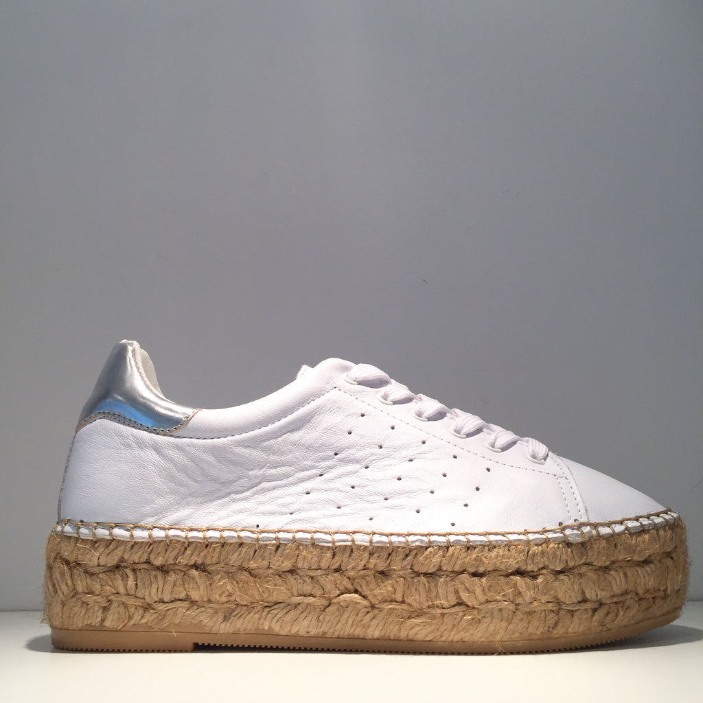 Fashion White Leather Silver High Gloss Espadrille Sneaker