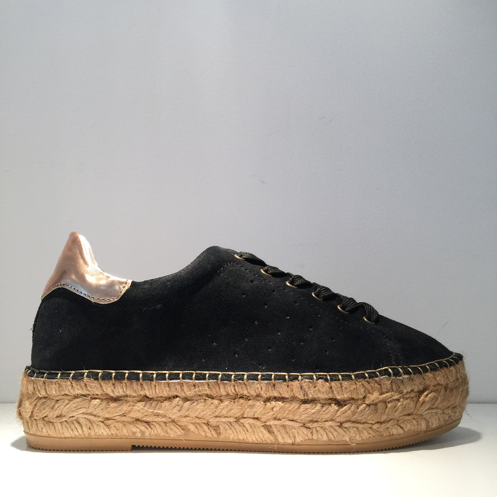 Fashion Black Suede Rose Gold High Gloss Espadrille Sneaker