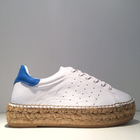 Fashion White Leather Blue Leather Espadrille Sneaker