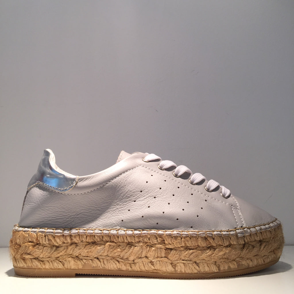 Fashion Grey Leather Silver High Gloss Espadrille Sneaker