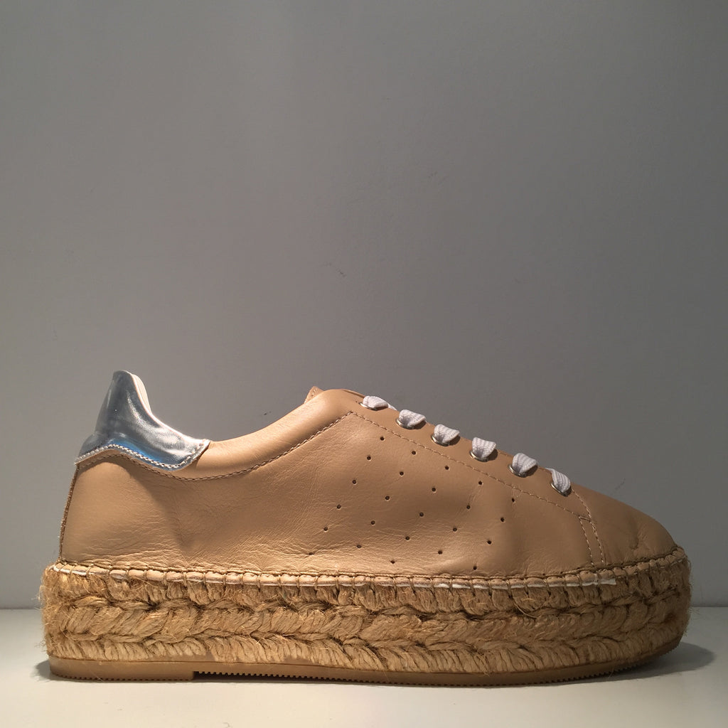 Fashion Beige Leather Silver High Gloss Espadrille Sneaker
