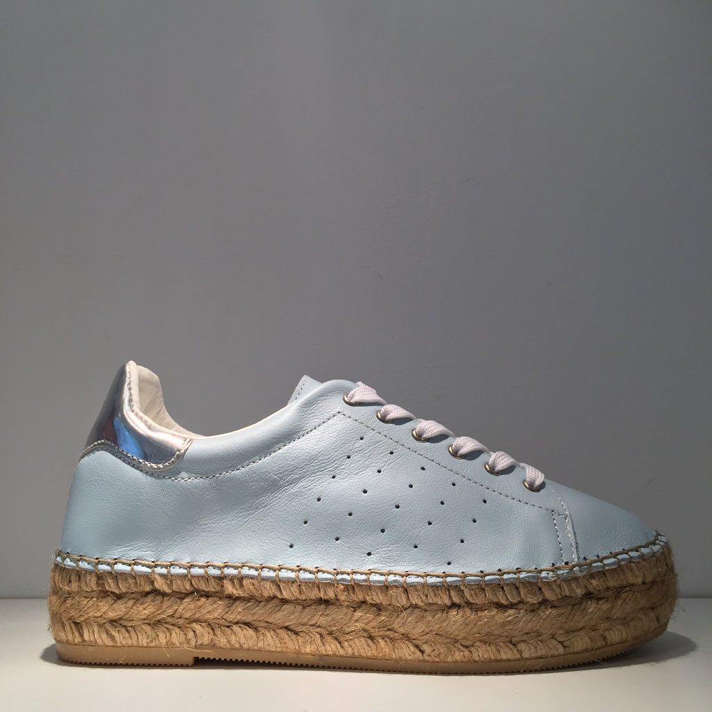 Fashion Light Blue Leather Silver High Gloss Espadrille Sneaker