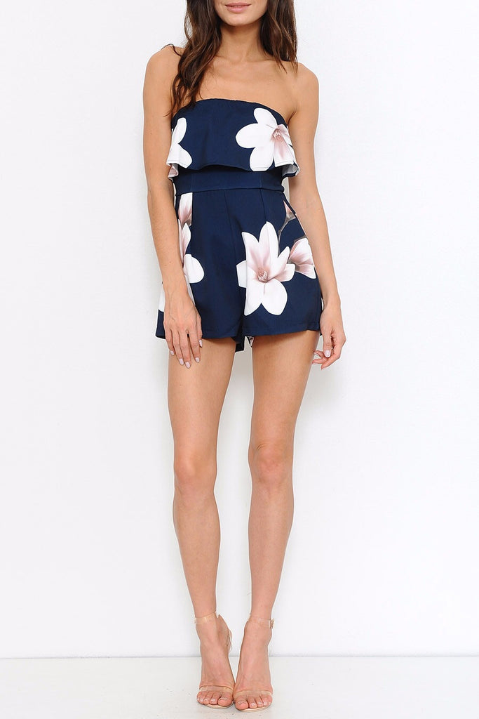Fashion Ruffle Strapless White Flowers Navy Romper