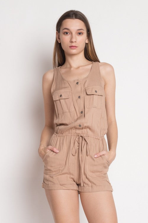 Casual Dark Beige Sleeveless Button Down Romper