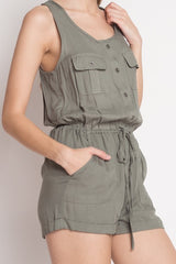 Casual Olive Sleeveless Button Down Romper