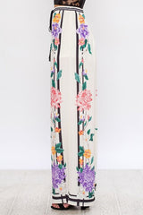 Fashion Multi-Color Floral Print Ivory Palazzo Pants