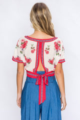 Fashion Red Floral Print Wrap Open Back Tie-Up Top