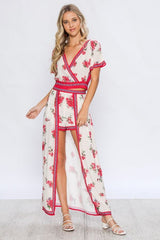 Fashion Red Floral Print High Low Maxi Shorts