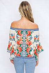 Elegant Multi-Color Floral Print Ivory Top with Bell Sleeve