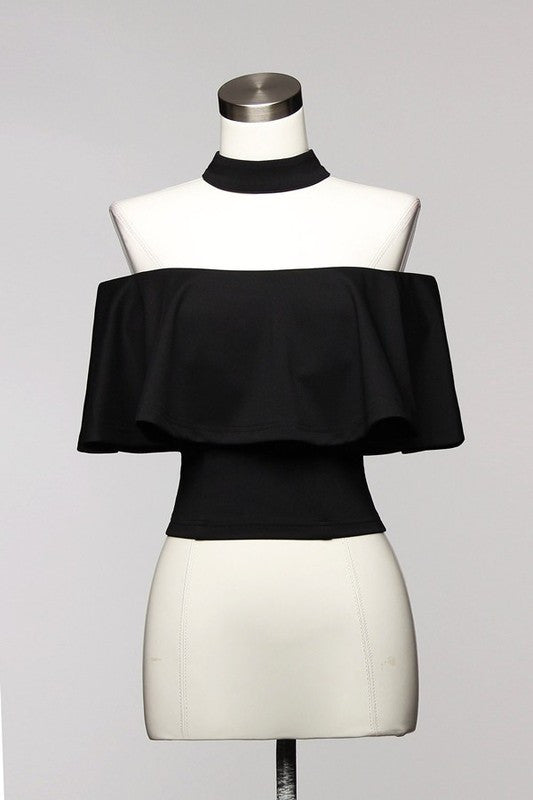 Elegant Ruffle Black Choker Off Shoulder Top