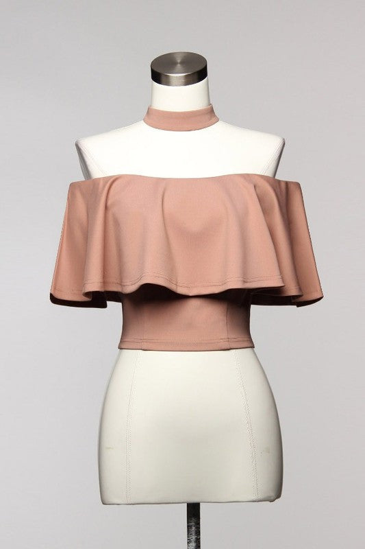 Elegant Ruffle Beige Choker Off Shoulder Top