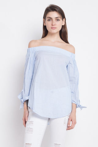 Fashion Summer Off Shoulder Blue Marine Top with Tie-Up Long Sleeve