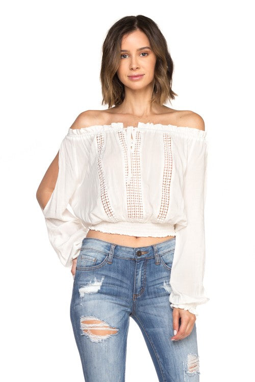 Fashion Cold Shoulder Lace Detailed White Top