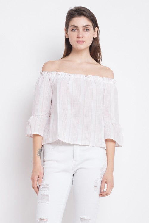 Fashion Off Shoulder Blush Marine Top With Bell Sleeve