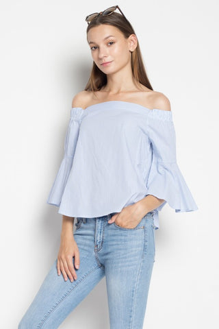 Fashion Off Shoulder Blue Marine Top With Bell Sleeve