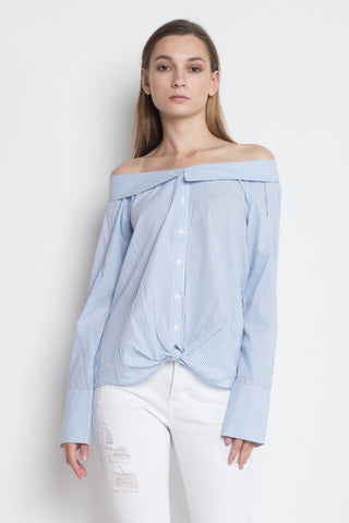 Fashion Off Shoulder Blue Marine Collar Shirt Top