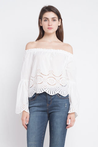 Elegant Off Shoulder White Lace Top with Long Sleeve