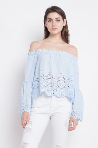 Elegant Off Shoulder Blue Lace Top with Long Sleeve