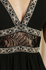 Elegant Black Lace Crystal Detailed Jumpsuit