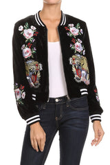 Fashion Tiger Embroidery Black Bomber Jacket