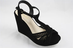 Casual Cut Out Pattern Black Wedge