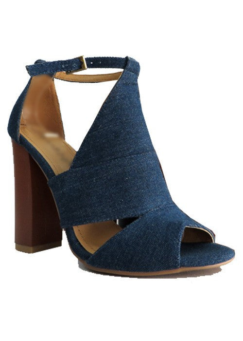 Casual Denim Cutout Chunky Heels