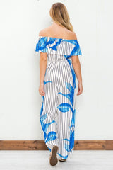 Fashion Off Shoulder Blue Floral Print Striped White Jumpsuit