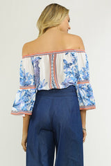Fashion White Blue Off Shoulder Floral Print Top