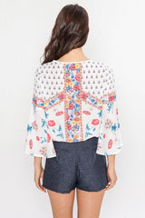 Summer Floral Print Cross Blouse